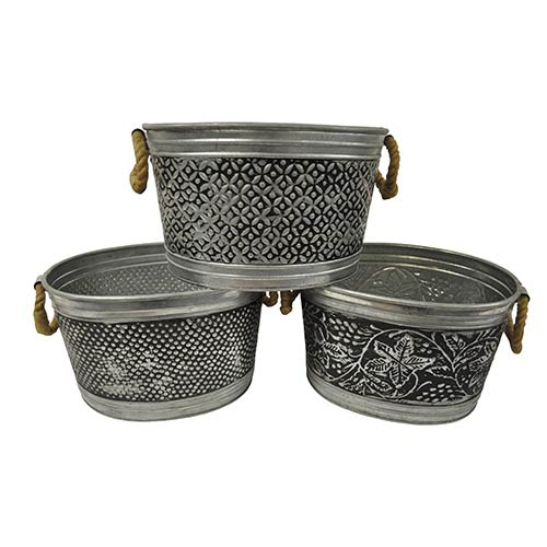 St. Croix Trading Kindwer Silver 14-Inch Metal Tubs Set of 3