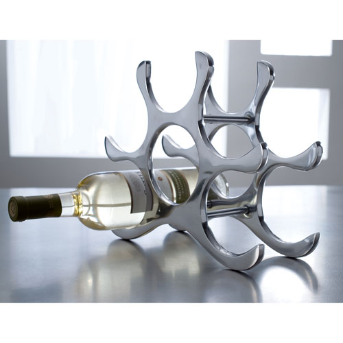 Kindwer Silver Six Bottle Polished Aluminum Wine Rack