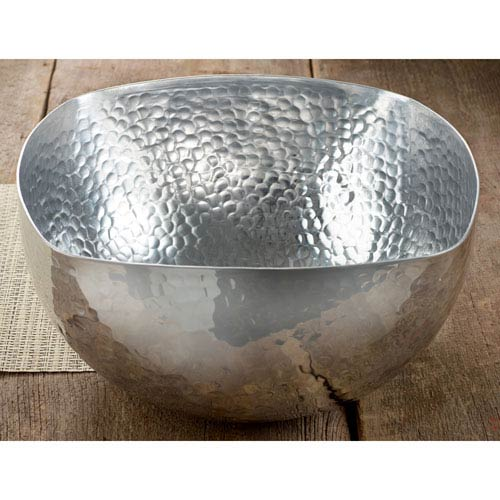 St. Croix Trading Kindwer Silver Square Hammered Aluminum Bowl