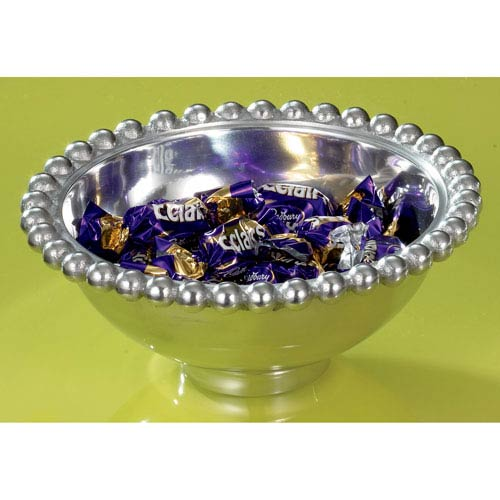 Kindwer Silver Aluminum Imperial Beaded Round Bowl