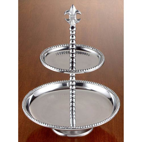 Kindwer Silver Beaded Fleur de Lis Two-Tier Stand