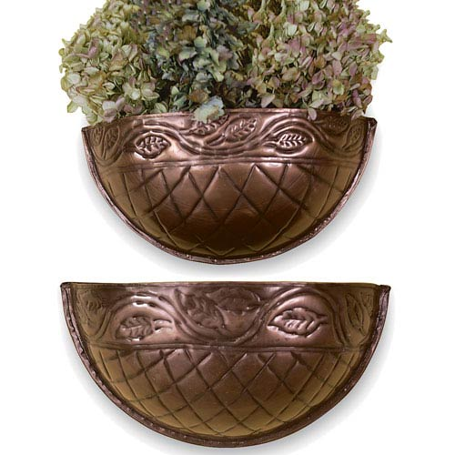 Kindwer Copper Grecian Wall Planters, Set of Two