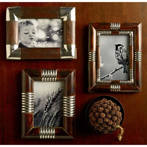 Kindwer Brown Metal and Wood 4 x 6-Inch Photo Frames, Set of Three