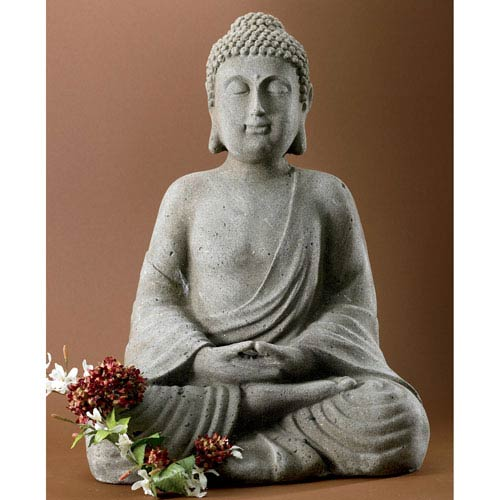 Kindwer Grey Serene Meditating Buddha Statue