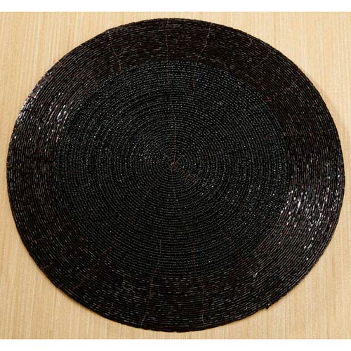 Kindwer Black Glass Beaded Black Placemat