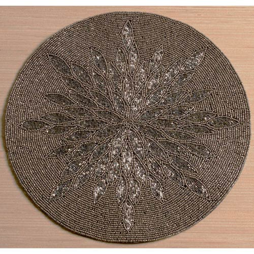 Kindwer Silver and Grey Glass Beaded Sunburst Placemat
