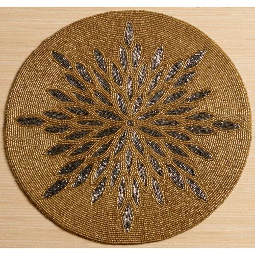 Kindwer Gold and Grey Glass Beaded Sunburst Placemat