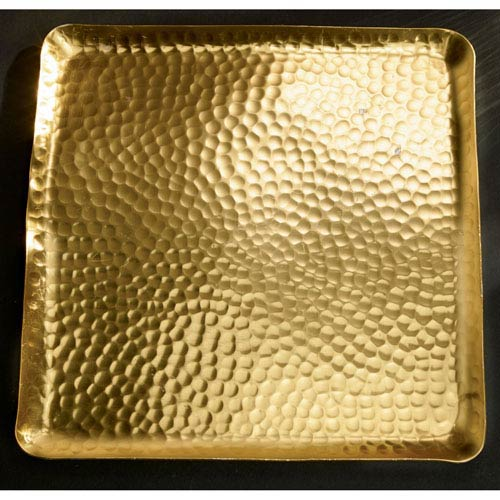 Kindwer Gold Gilded Square Hammered Tray