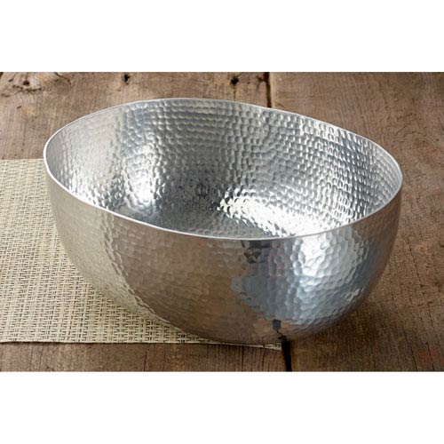12-Inch Oval Hammered Aluminum Bowl