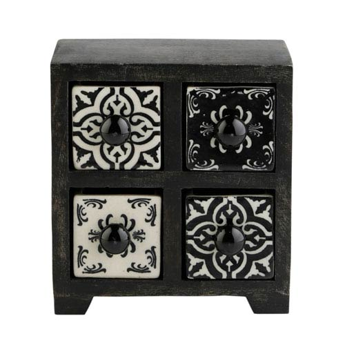 Curios Four-Drawer Black Wood Apothecary Chest
