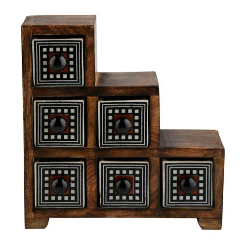 Curios Six-Drawer Brown Wood Apothecary Chest