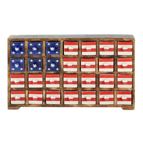 Curios Stars and Stripes Twnty-Eight Drawer Brown Wood Apothecary Chest