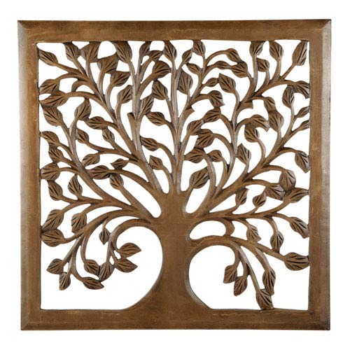 St. Croix Trading 30 In. Light Brown Solaris Nine Tree of Life Wall Art