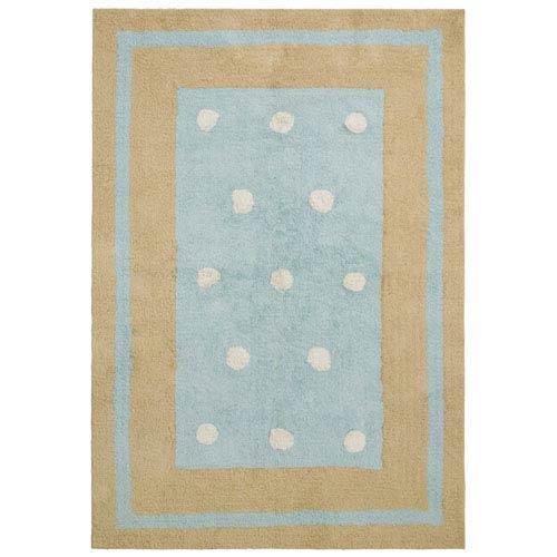 Carousel Blue Border Dots Rectangular: 4 Ft. x 6 Ft. Rug