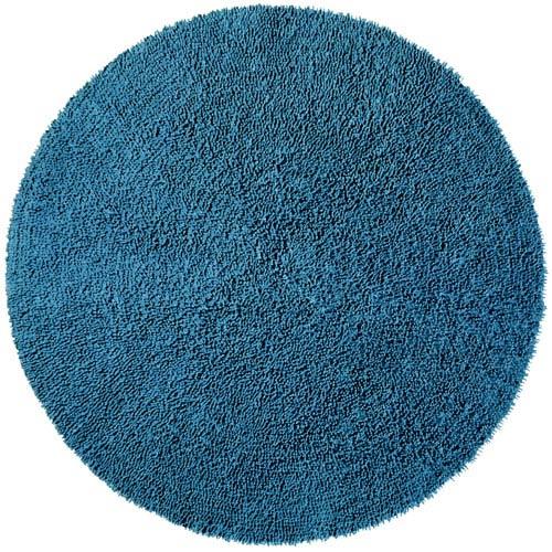 Shagadelic Chenille Shag Blue Round: 5 Ft. x 5 Ft. Rug