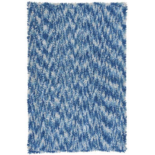 Shagadelic Blue Chenille Swirl Twist Rectangular: 4 Ft. x 6 Ft. Rug