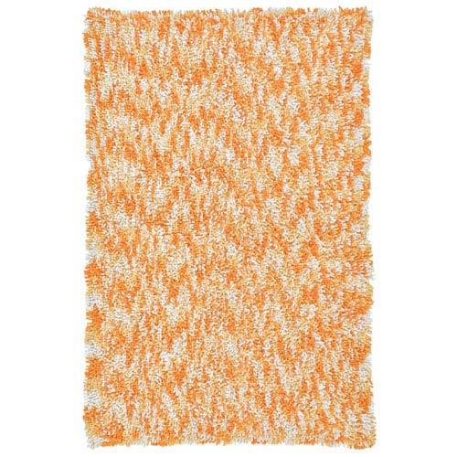 Shagadelic Orange Chenille Swirl Twist Rectangular: 4 Ft. x 6 Ft. Rug