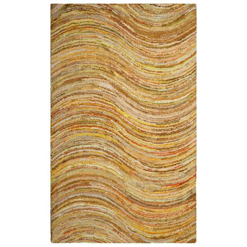 Brilliant Ribbon Yellow Wave Rectangular: 4 Ft. x 6 Ft. Rug