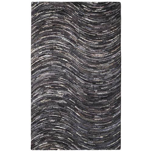 Brilliant Ribbon Grey Wave Rectangular: 4 Ft. x 6 Ft. Rug