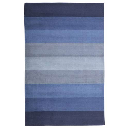 Blue Stripes Blue Rectangular: 5 Ft. x 8 Ft.  Rug