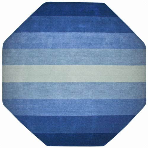 St. Croix Trading Aspect Blue Stripes Hand Tufted Octagon: 6 Ft. x 6 Ft. Rug