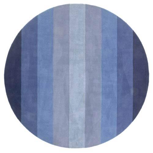 Blue Strpes Blue Round: 6 Ft. x 6 Ft. Rug