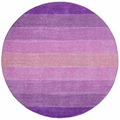 St. Croix Trading Aspect Purple Stripes Hand Tufted Round: 6 Ft. x 6 Ft. Rug