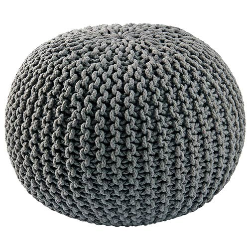St. Croix Trading Gray Cotton Rope Pouf Ottoman