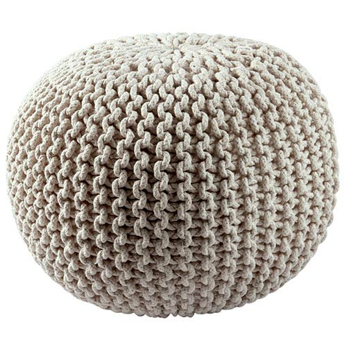 Off White Cotton Rope Pouf Ottoman