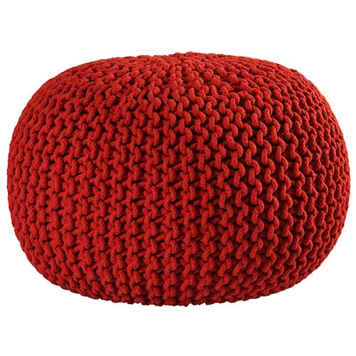 Red Cotton Rope Pouf Ottoman