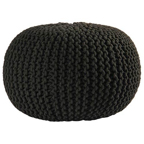 Black Cotton Rope Pouf Ottoman