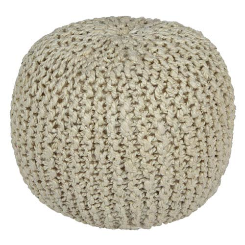Bleached Jute and Hemp 13 In. Rope Pouf