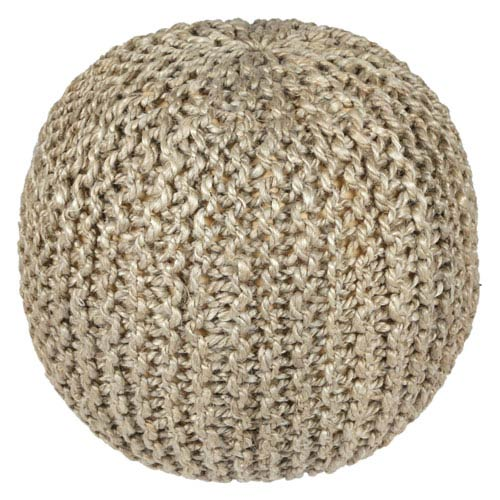 18-Inch Jute and Hemp Rope Pouf Ottoman