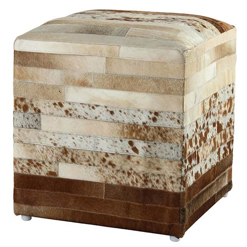 Brown Leather Striped Hide Pouf Ottoman