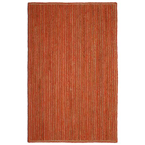Natural Jute and Orange Cotton Racetrack Rectangular: 21 x 34 In. Rug