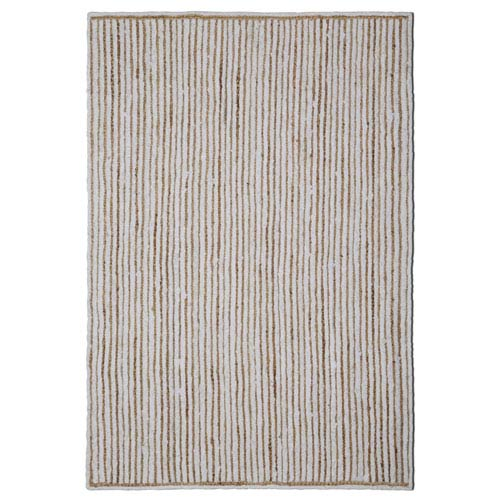 Natural Jute and White Cotton Racetrack Rectangular: 21 x 34 In. Rug