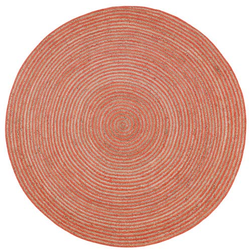 Earth First Orange Racetrack Round: 3 Ft Rug