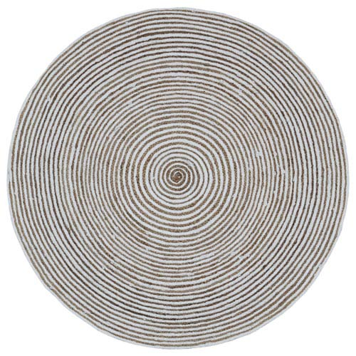 Earth First White Racetrack Round: 3 Ft Rug