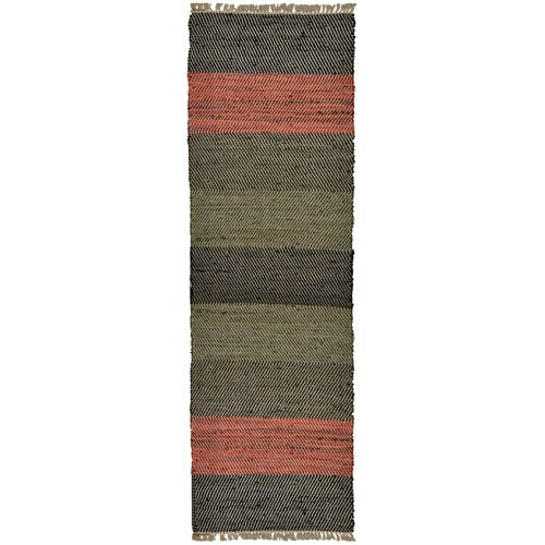 St. Croix Trading Matador Striped Leather Flat Weave Runner: 2 Ft. 6 In. x 12 Ft. Rug