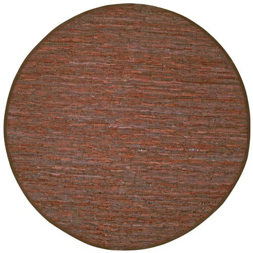 St. Croix Trading Matador Brown Leather Flat Weave Round: 6 Ft. x 6 Ft. Rug