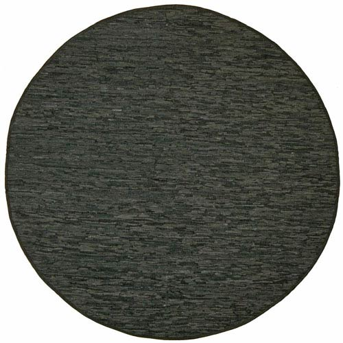 St. Croix Trading Matador Black Leather Flat Weave Round: 6 Ft. x 6 Ft. Rug