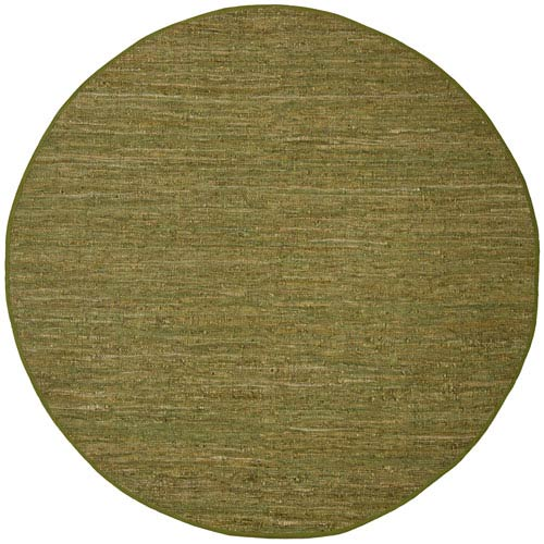 St. Croix Trading Matador Green Leather Flat Weave Round: 6 Ft. x 6 Ft. Rug