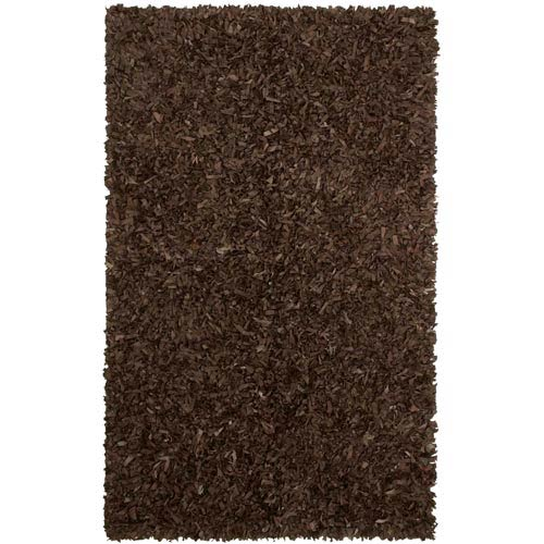 St. Croix Trading Dark Brown Leather Shag Rectangular: 5 Ft. x 8 Ft. Rug