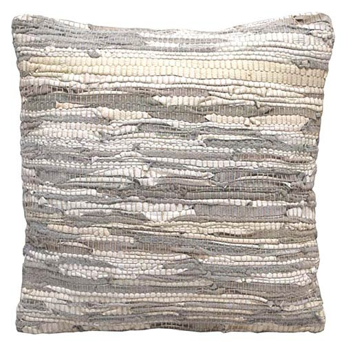 Matador White 18-Inch Leather Chindi Pillow