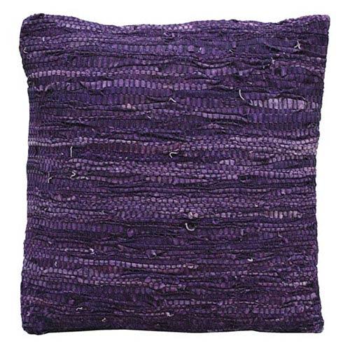 Matador Purple 18-Inch Leather Chindi Pillow