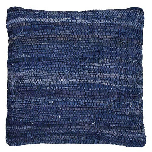 St. Croix Trading Matador Blue 18-Inch Leather Chindi Pillow
