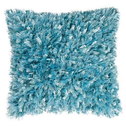 Aqua Shimmer Shag 18-Inch Pillow