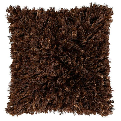 Brown Shimmer Shag 18-Inch Pillow