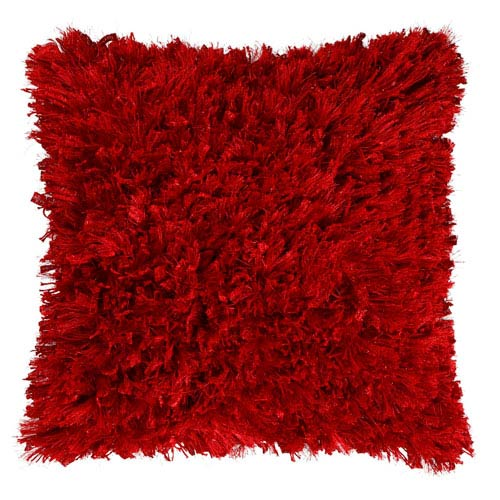 Red Shimmer Shag 24-Inch Pillow