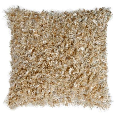 Beige Shimmer Shag 24-Inch Pillow